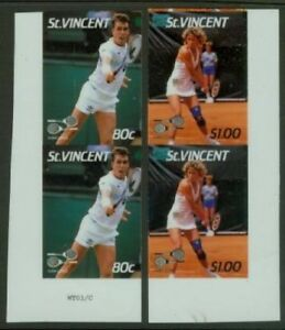 St. Vincent 1987 Tennis glossy plastic proof pairs-2