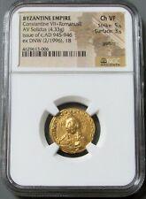 950 - 955 Ad Gold Byzantium Solidus Jesus Christ Constantine Vii Ngc Ch Vf 5/3