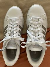 ADIDAS Cloudfoam Advantage White Leather Pearl  Gold Womens 8 Tennis shoes