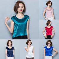 Women Satin Cap Sleeve Plain Shirt Lady Silk Like Crew Neck Top Tee Casual Retro