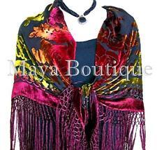 Maya Matazaro Tye Dye Burgundy Silk Burnout Velvet Piano Shawl Wrap Scarf