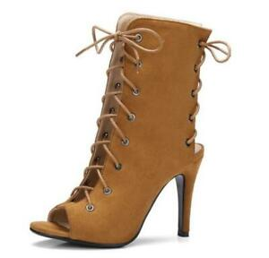 Womens Peep Toe Stiletto High Heel Strappy Lace Up Sandals Boots Summer Shoes