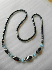 Gunmetal Necklace with glass beads.