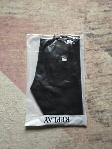 REPLAY Anbass Stretch Men's Slim Fit Blue Jeans, Size W36 L32 Charcoal Black