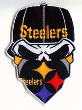 "🏈 5"" PITTSBURGH STEELERS Nation Skull/Bandanna Iron-on Football JERSEY PATCH!"