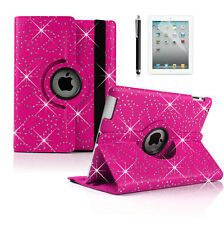 Bling Crystal 360 Rotating Swivel PU Leather Case Stand Cover for iPad 2 3 4 Hot