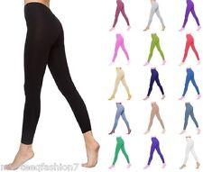 Womens Basic Cotton Leggings Full Length UK Size 6-26