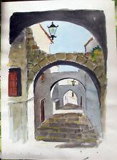 Acquerello '900 su carta-Stradina con archi e lanterne - firmato A.Bergamo (23)