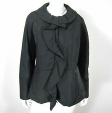 ETCETERA LONG SLEEVE JACKET COAT BLAZER SIZE 10 SOLID BLACK RUFFLED