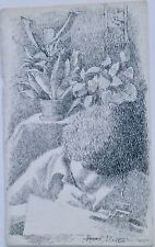 Woman Writing with Plant Ink Drawing- 8 x 5 Inch 1970s-August Mosca