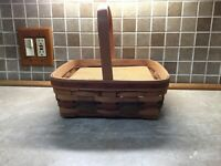 "1990 LONGABERGER SHADES OF AUTUMN PIE BASKET WITH RISER 12"" X 12"""
