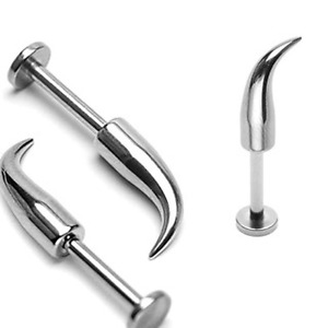 14g Long Curve Labret 4x12 Spike 316L Surgical Steel 1 Or 2 Pieces #4