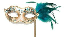 HAND HELD TURQUOISE GOLD JEWELLED VENETIAN MASQUERADE PARTY BALL MASK ON A STICK