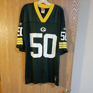 Green Bay Packers A.J. Hawk #50 Reebok Green Jersey Adult L