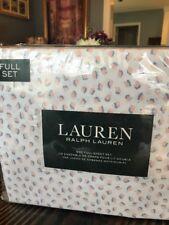 NEW LAUREN Ralph Lauren FULL Sheet Set Cotton White blue Pink Mini Leaf Print