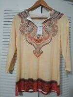 Chicos Ethnic Craft Sansia Top 3/4. Size 0