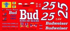 #25 Kenny Schrader Budweiser Chevrolet 1/64th HO Scale Slot Car Waterslide Decal