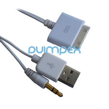 P44 Audio Data Shop Cable Connector 30pin auf USB + 3,5mm Jack iPhone iPod
