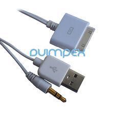 P44 Audio Daten Laden Kabel Connector 30pin auf USB + 3,5mm Klinke iPhone iPod