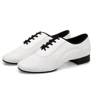 Hommes Bal Danse Chaussures Cuir Latin Valse Tango Salsa Talon Bas Blanc Neuf