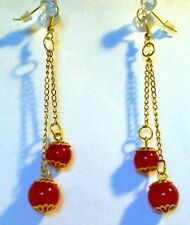 Double Red Jade Round Gemstone Gold Chain Drop/Dangle Hook Earrings