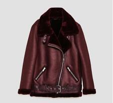 Womens Suede Coat Aviator Leather Jacket Winter Coat fur liner jacket coat