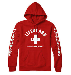 Lifeguard Hoodie With Your Personalised Destination Print Red Men Women Kids 312