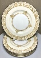 5 Minton England Salad Plates NP2616 White Cream Gold Banded Scrolls Griffins 7""