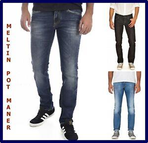Jeans Meltin pot uomo maner a vita bassa slim fit elasticizzato w29 w31 w32 w33
