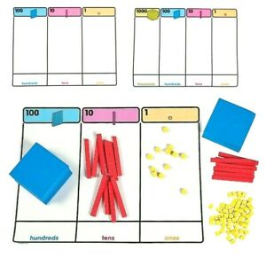 MAB Plastic Blocks 10 Hundreds, 10 Tens, 100 Ones and Base Ten Place Value Mat
