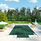 Swimming Pool Cover 16X32 FT Center Step Rectangular Safety Green Winter