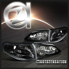 94-98 Ford Mustang Euro Black Crystal Headlights+Clear Corner Signal Lamps