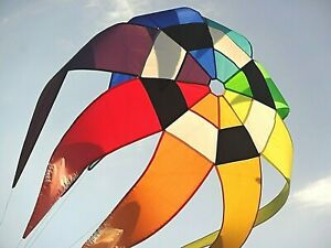 Large Rainbow Spinning Star. Wind Inflated. For Kite Line Laundry or Pole.