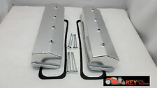 Small block Chevy fabricated CENTER BOLT satin aluminum valve covers 350 305