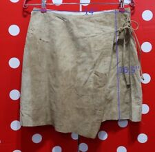CONBIPEL sz 42 L skirt 100% Real soft Leather suede mini ITALY