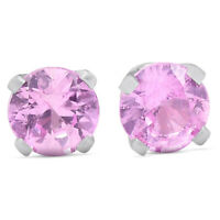 1/4 Ct TDW Pink Sapphire Studs 14k White Gold