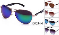 12 Pairs New Unisex Aviator Metal Flash Mirror Lens Quality Sunglasses Wholesale