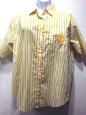 Basic Edition Womans Top 22W Yellow White Striped Short Sleeve Pocket Cotton Pol