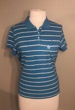 NEW Women's Tommy Hilfiger Plus Size 2X Blue Striped Polo Shirt Short Sleeve