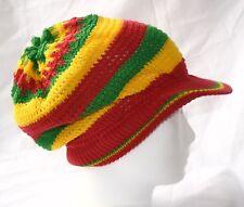 Cotton Strick Mütze mit Schild_L_Dreadlocks Hat with visor_Rasta_Reggae