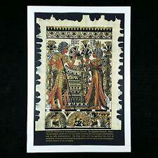 Gold Oil Painting on Egyptian Tutankhamon Ankhesenamen Framed Papyrus Canvas