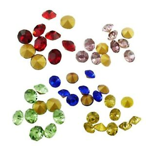 1440 Mixed Colour Rhinestones Round Faceted Chaton Pointed Gold Back 2mm