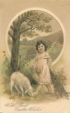WITH BEST EASTER WISHES - PFB 5873 - GIRL AND BABY LAMB OLD EMBOSSED POSTCARD