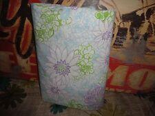 Pottery Barn Blue Purple Green Floral Twin Flat Sheet 62 X 88