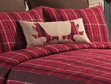 MOOSE ANTLER ACCENT PILLOW : BROWN RED PLAID RACK FOREST CABIN LODGE ACCENT TOSS