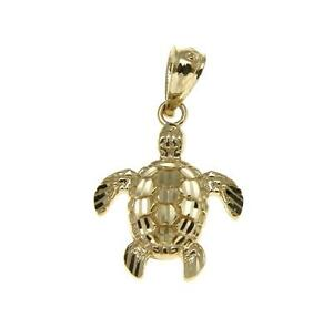 14k Yellow Gold Small Size Lucky Turtle Tortoise Pendant 12mm