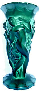 Art Deco Era Malachite Glass Hoffman & Schlevogt Grape Harvest Bacchantes Vase