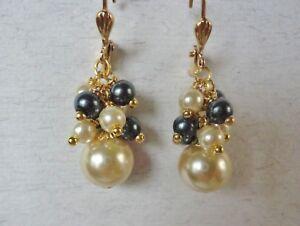 Pearl Cluster  Earrings Handmade Cream Charcoal Glass Pearl Dangles Leverback