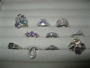 10 x 925 Silver & Cubic Zirconia /Gemstone /Crystal Rings N, O, P & Q Job Lot