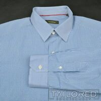 ERMENEGILDO ZEGNA Blue Gingham Checks 100% Cotton Mens Casual Dress Shirt - XL